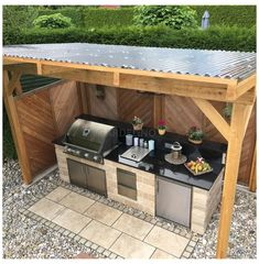 Outdoor Kitchen Countertops, Outdoor Kitchen Bars, Backyard Kitchen, Outdoor Kitchen Design, Backyard Bbq, Small Outdoor Kitchens, Backyard Storage, Outdoor Storage, Covered Outdoor Kitchens