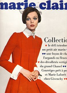 I love this cover of a 1968 issue of Marie Claire, featuring a gorgeous Jean Patou dress.