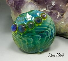 SRA HANDMADE LAMPWORK Bead Silver Glass Focal bead by Donna Millard