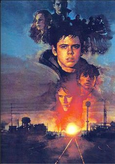 David Grove poster art for the film The Outsiders (1983). So many floating heads / people over that sunset!
