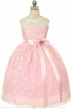 Ivory Pink Tulle Lace Flower Girl Dress $49.00