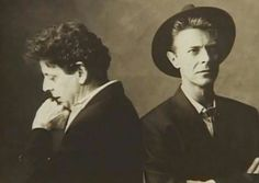 "David Bowie with Philip Glass - photo session for the album cover for ""Low"" Symphony by Philip Glass, 1993"