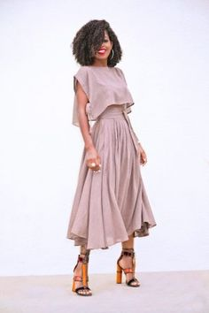 Style inspiration - Boxy Crop Top and Wrap Midi Skirt Classy Outfits, Chic Outfits, Fashion Outfits, Womens Fashion, Fashion Trends, Black Girl Fashion, Look Fashion, Fashion Design, Mode Wax