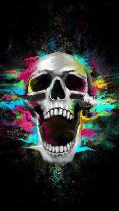 Growl Shouting Skull Colorful iPhone 6 Wallpaper