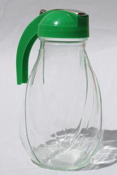big vintage glass syrup pitcher w/ green plastic dispenser lid, one quart jar