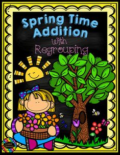Spring Themed 3 Digit Addition With Regrouping Freebie Math Addition, Addition And Subtraction, Spring Activities, Math Activities, 2nd Grade Math, Second Grade, Grade 2, Fourth Grade, Teaching Math