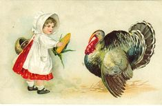 Free Vintage Holiday Printables Thanksgiving-turkey-little-girl-corn-clip-art