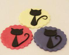 simple+fondant+black+cat+silhouette | cat cake decorations, black cat silhouette, fondant cat, gumpaste cat ...