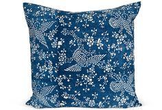 Indigo Floral w: Birds Pillow Erin Taylor Botanik