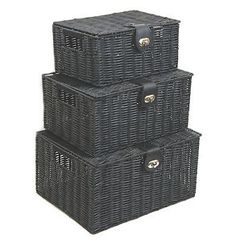 Black-Resin-Woven-Hamper-Storage-Basket-Box-With-Lid-amp-Lock-In-3-Size-Ideal-Gift
