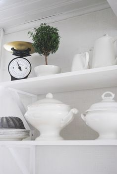 Pure white ironstone with one little topiary  - perfect.