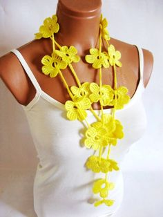 Crochet Yellow Flower Lariat Scarf Fashion by WomanStyleShop