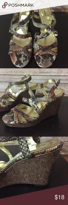 "Snake skin wedges New without tag beautiful faux snakeskin upper with a 3 3/4"" wedge. These are new without tags but one heel has some scratches, see pic three.  Black grey and blush. Pretty combo!  Sz 10. S Style & Co Shoes Wedges"