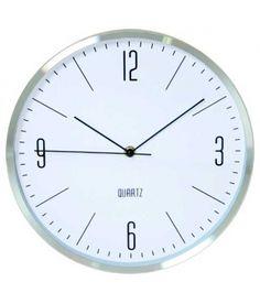 Reloj pared aluminio plateado