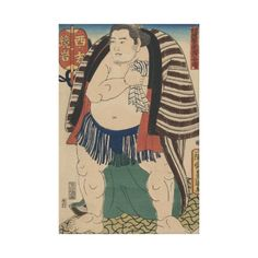 Wrestler Kagamiwa of the West Side - Japanese Vintage Art Image (pre 1900s) on Premium Wrapped Canvas #art #canvas #japan #japanese #sumo #wrestler #home #style #accents #decor