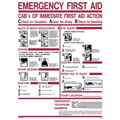 18 in. x 24 in. Emergency First Aid ABC's Sign Printed on More Durable, Thicker, Longer Lasting Styrene Plastic, White With Red And Black