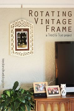 Rotating Art Vintage Frame - made with metal bar, contact paper, and magnetic clip
