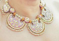 Meenakari set in Pink and Orange.| Statement necklace