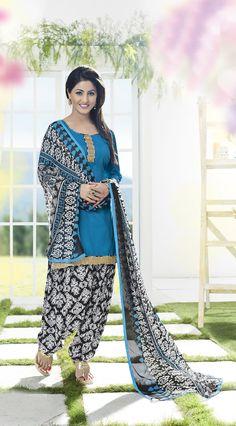 Buy Pretty Blue Patiala Salwar Kameez online at  https://www.a1designerwear.com/pretty-blue-patiala-salwar-kameez  Price: $22.38 USD
