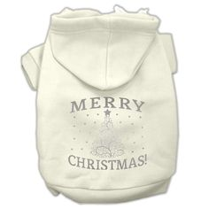 Shimmer Christmas Tree Pet Hoodies Cream Size XXL (18)