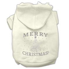 Shimmer Christmas Tree Pet Hoodies Cream Size XXL (18)