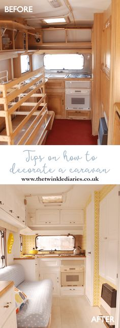 Tips on Decorating a Caravan by The Twinkle Diaries — take one old and ugly little caravan and turn it into something lovely! This first post gives tips for a caravan makeover, concentrating on painting and wallpaper the interior.