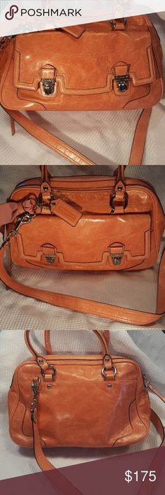 🔶️JUST IN 🔶️Coach Poppy Leather Pushlock Satchel Gorgeous, waxed calfskin from Italy in salmon pink.  1 outside pocket with pushlocks.  Interior has a sateen lining and 1 zipper pocket along with 2 pouches.  Zip top closure.  Original hang tag and ribbon embellishment.  14in x 9in x 4 in.  6 in hand straps plus 16in shoulder strap.  EUC. Smoke free, pet free. coach  Bags