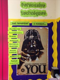 Bulletin board classroom display English - persuasive writing Rhetorical Question, Alliteration, Classroom Bulletin Boards, Persuasive Writing, Classroom Displays, Literacy, Projects To Try, Language, Facts