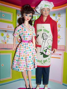 Barbie and Ken.. Lets get Cooking Repro Set.. Vintage clothes on Ken Repro on Barbie by Rieckie, via Flickr