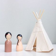 This natural canvas dollhouse teepee is great for your child's wooden doll play pieces! Hand-made miniature tipi. Includes Native American Indian Peg Dolls made by Goose Grease. www.goosegreaseshop.com
