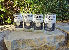 Corona Beer Bottle Glasses  Set of 4 by ConversationGlass on Etsy, $30.00