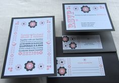 Romantic Pink, Gray and Coral Mexican Folk Wedding Invitation