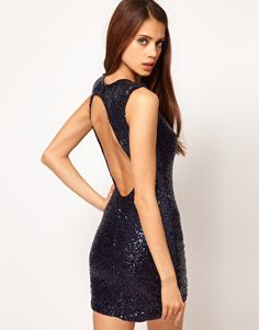 Enlarge ASOS PETITE Exclusive Sequin Body-Conscious Dress With Cut Out Back