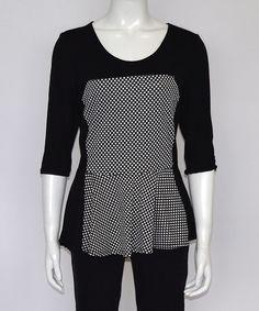 Black & White Polka Dot Peplum Top - Women by GOA #zulily #zulilyfinds