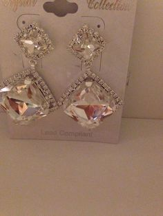 Crystal Collection Fashion Jewelry White Saphire Custom Earings Shinny