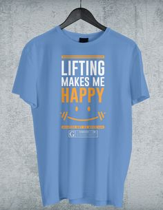 """Lifting Makes Me Happy"" Men's Tees & Tanks by GYMRATED™"
