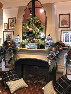 My Three Essentials for Holiday Decorating - Nell Hills Blue Christmas Decor, Tartan Christmas, Gold Christmas Decorations, Christmas Interiors, Christmas Fireplace, Christmas Mantels, Christmas Love, Country Christmas, Beautiful Christmas
