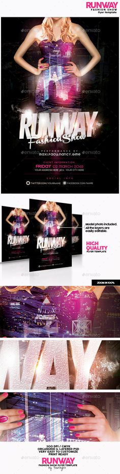 Runway Fashion Show Flyer Template — Photoshop PSD #urban #theater • Available here → https://graphicriver.net/item/runway-fashion-show-flyer-template/12342069?ref=pxcr