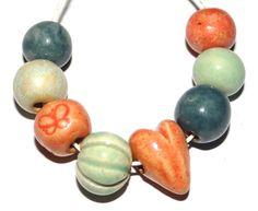 Ceramic Bead Set Handmade Textured Beads Rustic Organic by Grubbi