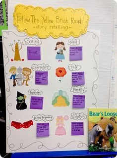 Story Retelling Chart- On her blog there is also a free downloadable sheet for the kids to retell a story and cards to make a yellow brick road for visual reminder cues.
