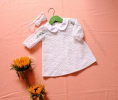 Dress baby girls with white cotton and lovely white lace