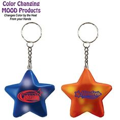 Mood Color Changing Star Key Chain with custom logo (for the STARS project. Promotional Keyrings, Trade Show Giveaways, Mood Colors, For Stars, Custom Logos, Brand You, Swag, Advertising, Company Logo