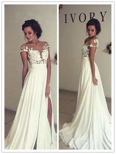 A Line See-through Bateau Lace Appliqued Floor length Beach Ivory Wedding Dress,Off the Shoulder Party Prom Dresses