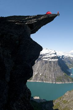Trolltunga by OpplevOdda, via Flickr. Hardangerfjord, Norway. Photo by Stig Tronvold.