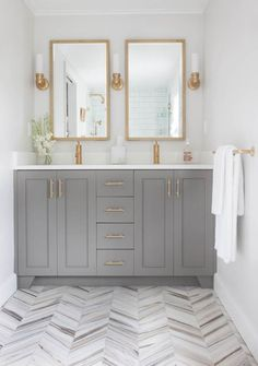 Have you seen Erin's bathroom remodel? It is fabulous. I love the herringbone floor and classic subway tile but what sets it off is the Modern French Gold finishes from Kohler. I live in Milw…