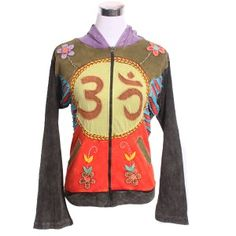 The jacket has both religious and peace symbols. Embroidery, razor cuts, appliqué and hood are the features of this jacket. This long sleeved jacket is comfortable and has a zipper on its front. The jacket has bright colors.
