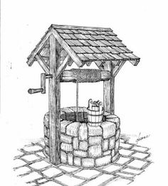"""Vintage hand-dug water well with hand crank and water bucket. """"Wishing Well"""". Vintage hand-dug water well with hand crank and water bucket. """"Wishing Well"""". Landscape Pencil Drawings, Pencil Art Drawings, Art Drawings Sketches, Easy Drawings, Landscape Sketch, Arte Sketchbook, Water Well, House Drawing, Wishing Well"""