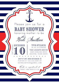PRINTABLE Anchor Nautical Sailing Navy Red Stripes White baby shower or birthday party invitation - colors and wording can be changed on Etsy, $15.00