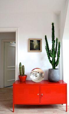 cactus-na-decoração - a simplicidade extremamente elegante; o armário, parece ser aqueles de aço de escritório, que recebeu essa cor linda de coral.