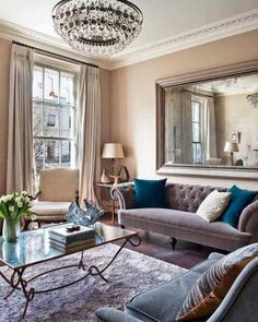 comfy glam living room-sofa (not color), table, chandelier) Glam Living Room, Living Room Colors, Living Room Sofa, Living Room Interior, Apartment Living, Home And Living, Living Room Designs, Living Room Decor, Living Rooms